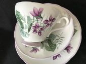 Adderley tea trio violets cup saucer plate